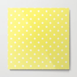 Pastel Yellow Star Pattern Metal Print