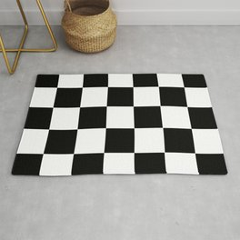 Traditional Black And White Chequered Start Flag Rug