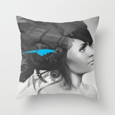 Feather Blue Throw Pillow
