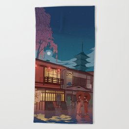 Kyoto at night Beach Towel