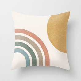 Mid Century Colorful Sun & Rainbow Throw Pillow