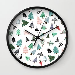 Cute whimsical Christmas trees pattern illustration Wall Clock