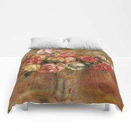 """Auguste Renoir """"Roses dans un vase de Sèvres"""" Comforters"""