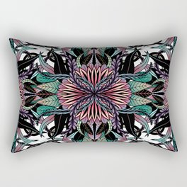 Modern Girly Coral Purple Floral Drawings Rectangular Pillow