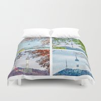 seoul Duvet Covers featuring Seoul Tower Seasons - Square by Zayda Barros