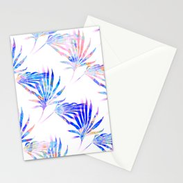Palmetto Fronds Tropical Pattern Pink Blue Stationery Cards