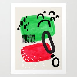 Mid Century Modern Abstract Vintage Colorful Shapes Patterns Red Green Bubbles Art Print