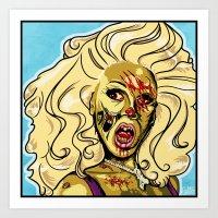 rupaul Art Prints featuring Zombie RuPaul by ComfortComfort