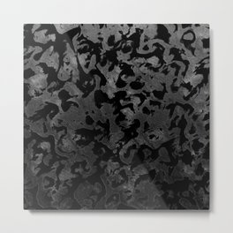 Modern Camo -Black and Dark Grey- camouflage Metal Print
