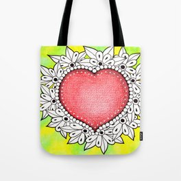 Watercolor Doodle Art | Heart Tote Bag