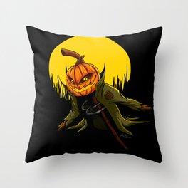 Pumpkin scarecrow Throw Pillow