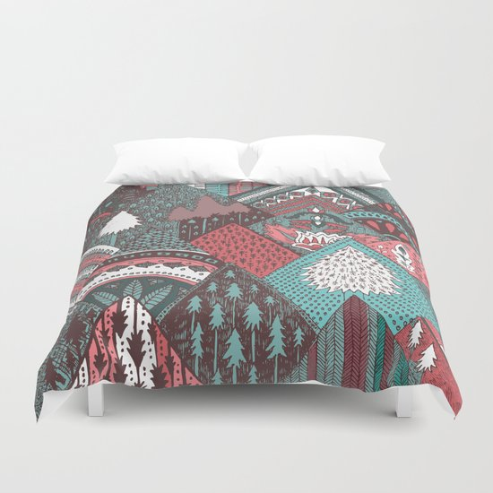 Red mountains Duvet Cover