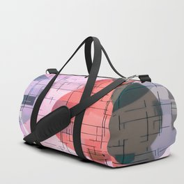 geometric square and circle pattern abstract in red pink blue Duffle Bag