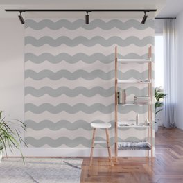 Gasp Gray on Millennial Pink Waves Wall Mural