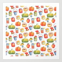 Autumn Kitchen Pattern with Pumpkin, Apple Basket, Mushroom and Preserves in Jar Art Print