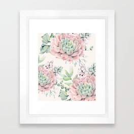 Pink Succulents on Cream Framed Art Print