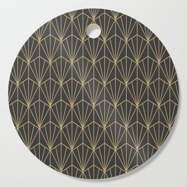 Art Deco Vector in Charcoal and Gold Cutting Board