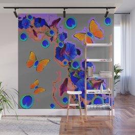Blue Fantasy Orange Butterflies Grey & Violet Color Art Wall Mural