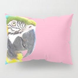 Macaw Portrait Pink Background Pillow Sham
