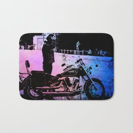 Biker with his motorcycle in a surreal landscape Bath Mat