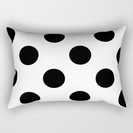 Large Polka Dots - Black on White Rectangular Pillow