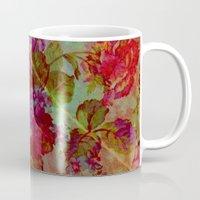 vintage floral Mugs featuring vintage floral by clemm