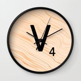 Scrabble Letter V - Large Scrabble Tiles Wall Clock