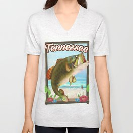Tennessee fishing poster Unisex V-Neck