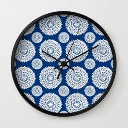 Silver and Navy Mandalas Wall Clock