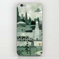 travel poster iPhone & iPod Skins featuring Chicago Travel Poster Illustration by ClaireIllustrations