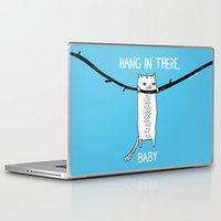 inspirational Laptop & iPad Skins featuring Hang in There, Baby by gemma correll