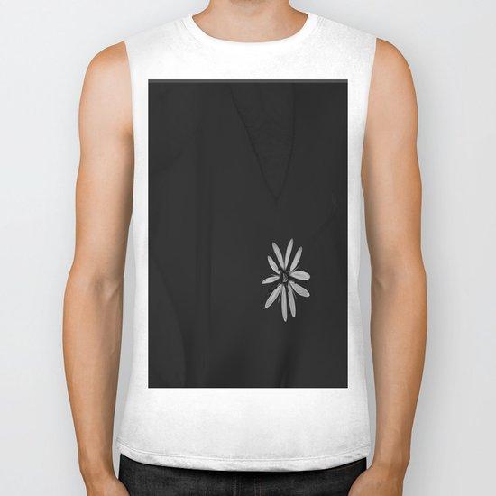 One Tiny White Flower on Black Background Biker Tank