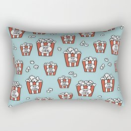 Movies and popcorn night food pop art pattern blue pattern Rectangular Pillow
