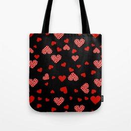 Valentines Hearts black Tote Bag