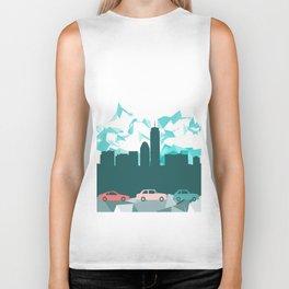 City, mountain and cars Biker Tank