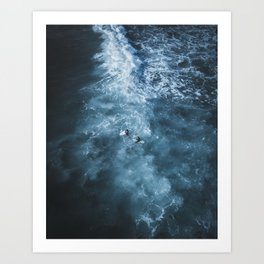 Stormy Waters, surfers enduring the elements Art Print