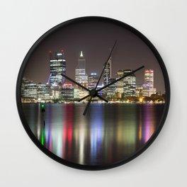 Perth Skyline At Night Wall Clock