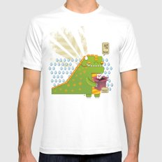 Godzilla get´s hungry!!! MEDIUM White Mens Fitted Tee