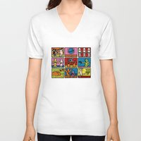 keith haring V-neck T-shirts featuring Haring - étoiles W. by Krikoui