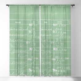Library Card 23322 Negative Green Sheer Curtain
