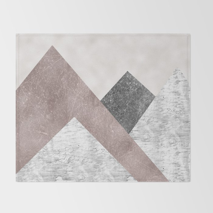 Rose grunge - mountains Throw Blanket