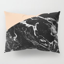 Modern elegant peach black marble color block Pillow Sham