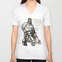 finland V-neck T-shirts featuring Thor of Finland by Randy Meeks