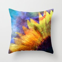 Sunflower Flower Floral on colorful watercolor texture Throw Pillow