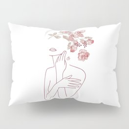 Minimal Line Art Woman With Watercolor Flowers Pillow Sham