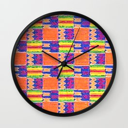 African Influence Textile Wall Clock