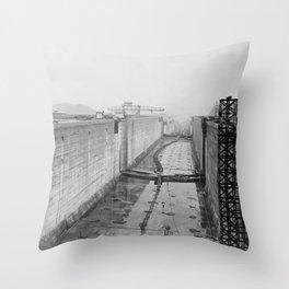 Panama Canal construction Throw Pillow