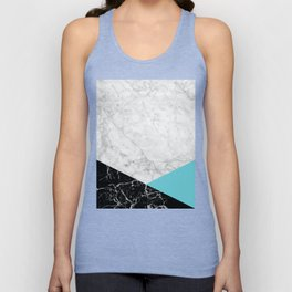 White Marble - Black Granite & Teal #871 Unisex Tank Top