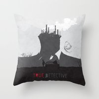 true detective Throw Pillows featuring True Detective by Geminianum