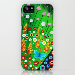 Blue Butterfly in Abstract Meadow iPhone Case